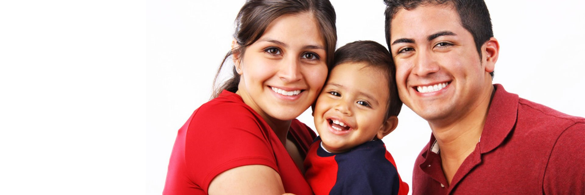 banner happy family with baby smiling discover dental